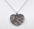 Ladies 18k White Gold 1.53 Cts. White & Champagne Diamond Heart Pendant w/Chain