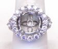 Ladies 18k White Gold 2.43 Cts Diamond Halo Semi-Mount Engagement Ring