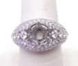 Ladies 18k White Gold Domed 2.52 Cts. Diamond Semi-Mount Engagement Ring