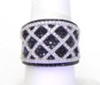 Ladies 18k W Gold 2.75 Cts White & Black Dia Layered Criss-Cross Band Ring