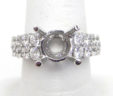 Ladies 18k White Gold 2.81 Cts. 2 Rows Graduating Diamonds Semi-Mount