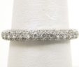Ladies 18k White Gold 3 Row Diamonds Eternity Wedding Band