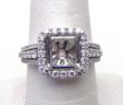 Ladies 18k White Gold Diamond Split Shank Squared Cushion Semi-Mount Ring