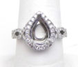 Ladies 18k White Gold Diamonds Pear Shaped Twisted Band Semi-Mount