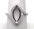 Ladies 18k White Gold 3 Cts. Marquise Shape Diamond Semi-Mount Engagement Ring