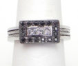 Ladies 18k White Gold Rectangular Top Black Diamond Cable Wire Accent Ring