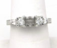 Ladies 18k White Gold Round & Baguette Diamonds Semi-Mount Ring