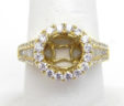 Ladies 18k Yellow Gold 1.05 Cts. Round & Baguette Diamond Halo Semi-Mount