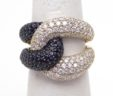 Ladies 18k Yellow Gold 4.11 Cts. Black & White Diamonds Wide Knot Ring