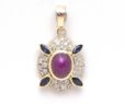 Ladies 18k Yellow Gold Diamonds, Blue Sapphire & Ruby Oval Cushion Pendant