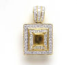 Ladies 18k Yellow Gold Double Square Gallery Diamond SemiMount Pendant
