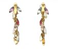 Ladies 18k Yellow Gold Multi-Colored Stones Dangle Earrings