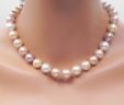 Ladies Multi-Color 13mm Pearl Strand Necklace  S.S. Fish Hook