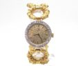 Ladies Omega 14k Yellow Gold Diamond Bezel Custom Bracelet Quartz Watch