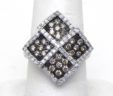 Ladies White Gold 1 Cts. White & Champagne Diamonds Multi-Squared Ring