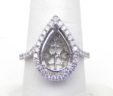 Ladies White Gold Pear Shaped Diamond Semi-Mount Engagement Ring