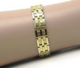 Men's 1/2 Inch Wide 14k Two-Tone Textured Square Center Link Bracelet