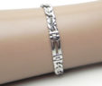 Men's 14k White Gold Figaro Style Bracelet w/Raised Diamond Shaped Sections