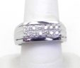 Men's 14k White Gold Double Row Diamonds Band Ring