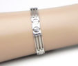 Men's 14k White Gold Open Rectangular & Circle Links Bracelet