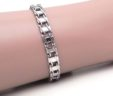 Men's 14k White Gold Railroad Link 8 Inch Bracelet