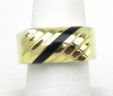 Men's 14k Yellow Gold Black Oynx Band Ring
