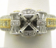Ladies 18k W & Y Gold 1.03 Cts.Round, PC & Baguette Diamond Semi-Mount