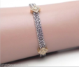 Ladies 14k Two-Tone Triangular Diamond Sections w/2 Rows Rope Chain Bracelet