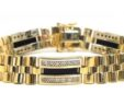 Men's 14k Two-Tone 1.67 Cts. Diamonds & Black Onyx Bracelet