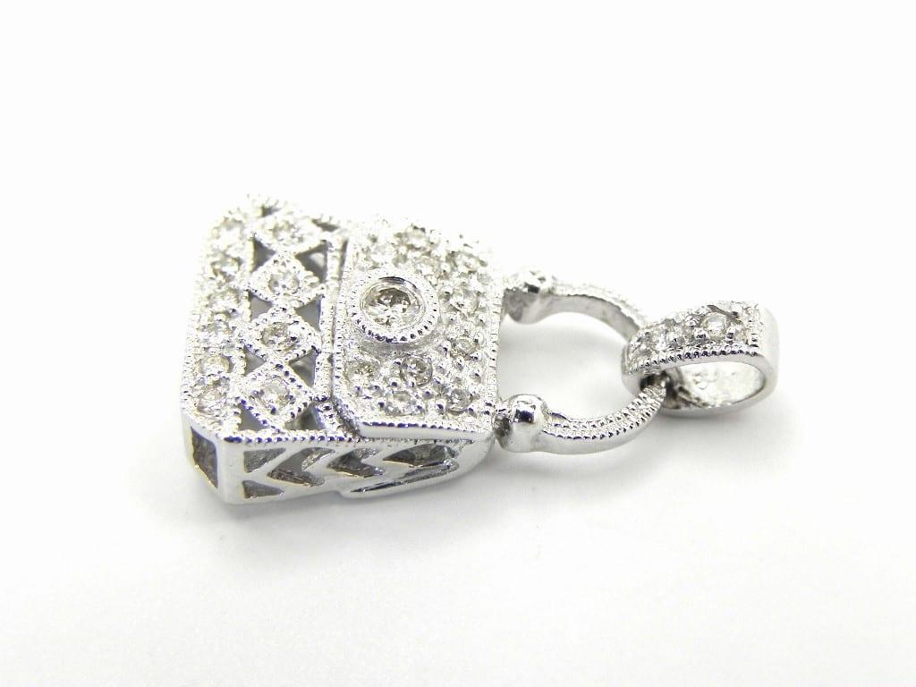 Ladies 14k White Gold Diamond Purse Charm Pendant Bright