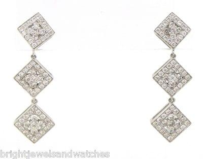 Las 18k White Gold Triple Square Dangle Earrings