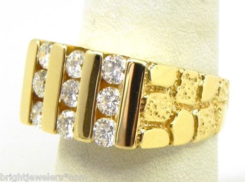 Men S 14k Yellow Gold 1 Cts Diamonds Nugget Ring Bright