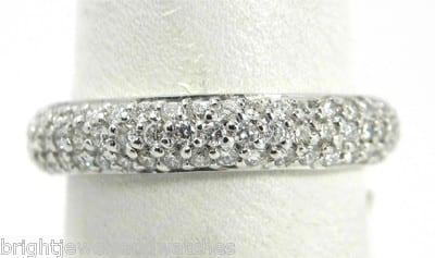 White Gold 1 20 Cts 3 Row Micro Pave Diamond Eternity Wedding Band 848 00 Previous Next