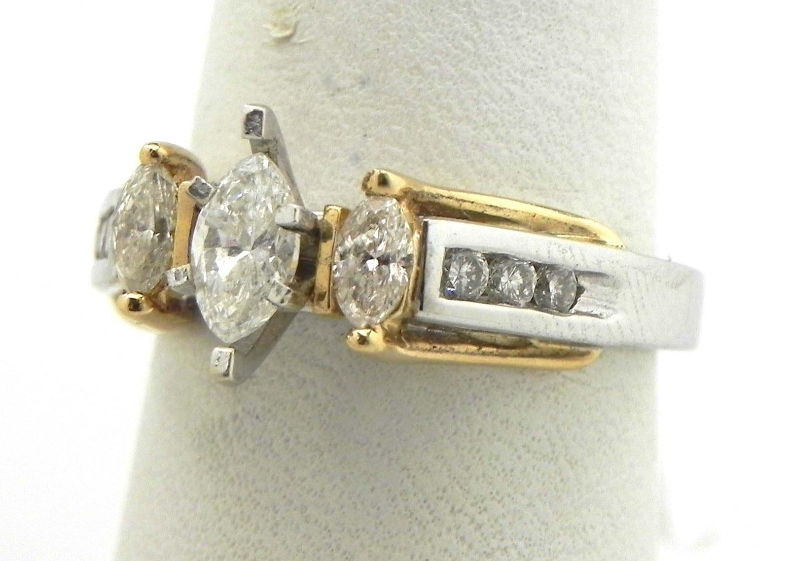 Ladies 14k Two Tone Three Stone Diamond Marquise