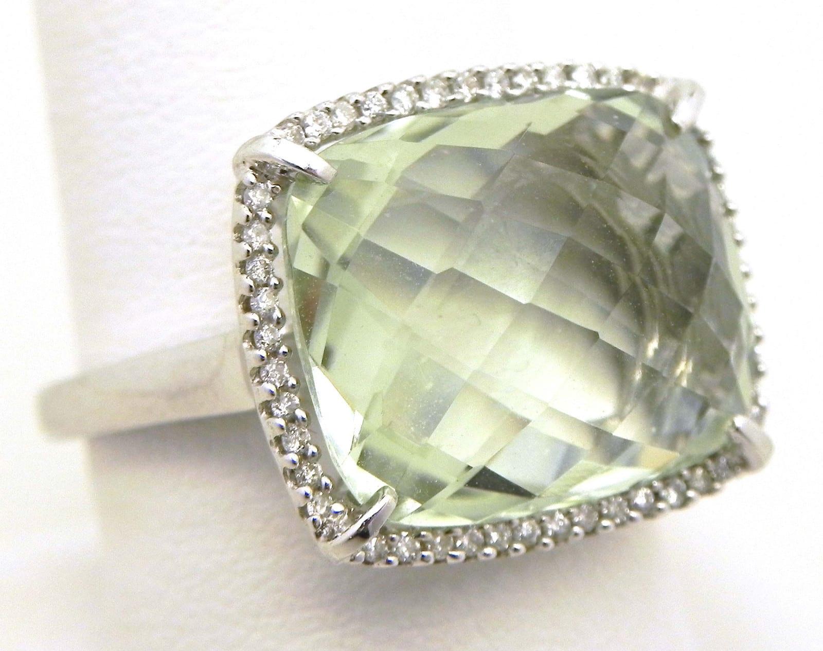 ladies 14k white gold cts green amethyst diamonds. Black Bedroom Furniture Sets. Home Design Ideas
