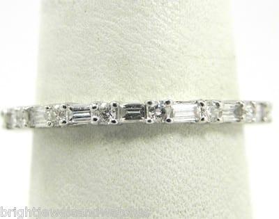 Ladies 18k White Gold .75 Ct. Round & Baguette Diamond Eternity ...