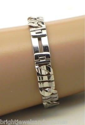 men 39 s 14k white gold italian solid link bracelet bright. Black Bedroom Furniture Sets. Home Design Ideas