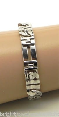 2d67601001a Men s 14k White Gold Italian Solid Link Bracelet – Bright Jewelers