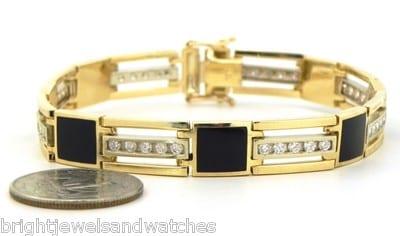 Men S 14k Yellow Gold 2 Cts Diamonds Squared Black Onyx