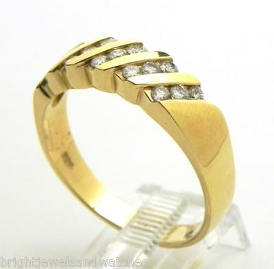 Men S 14k Yellow Gold Diamond Channel Set Band Ring
