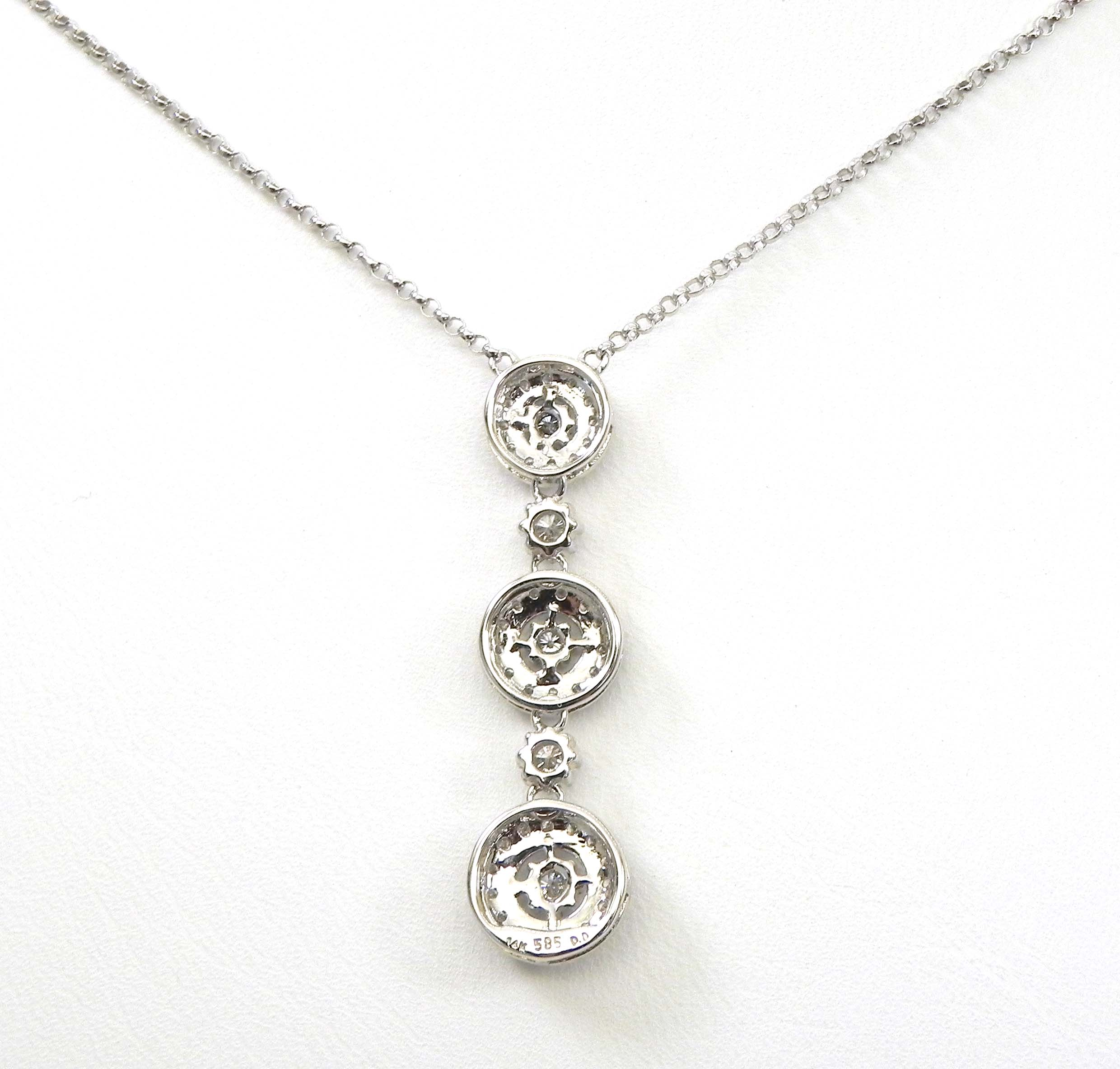 Ladies 14k White Gold Diamonds Triple Circle Pendant