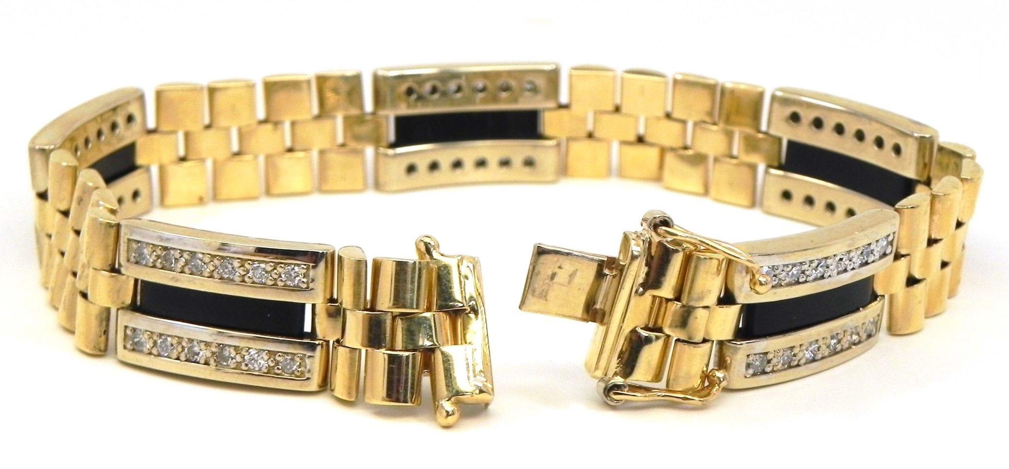 Men's 14k Two-Tone 1.67 Cts. Diamonds & Black Onyx Bracelet | Bright Jewelers