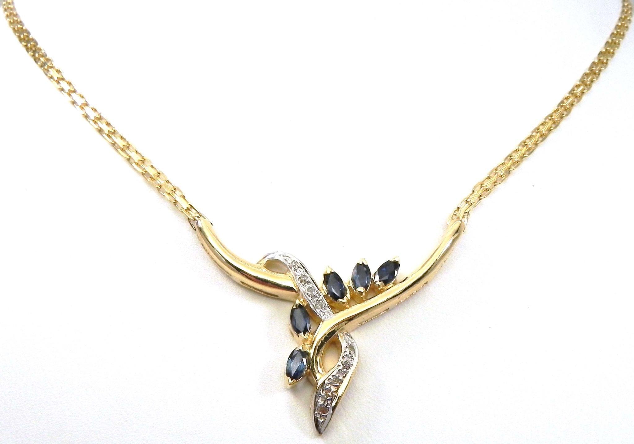 ladies 14k yellow gold diamonds blue sapphire. Black Bedroom Furniture Sets. Home Design Ideas