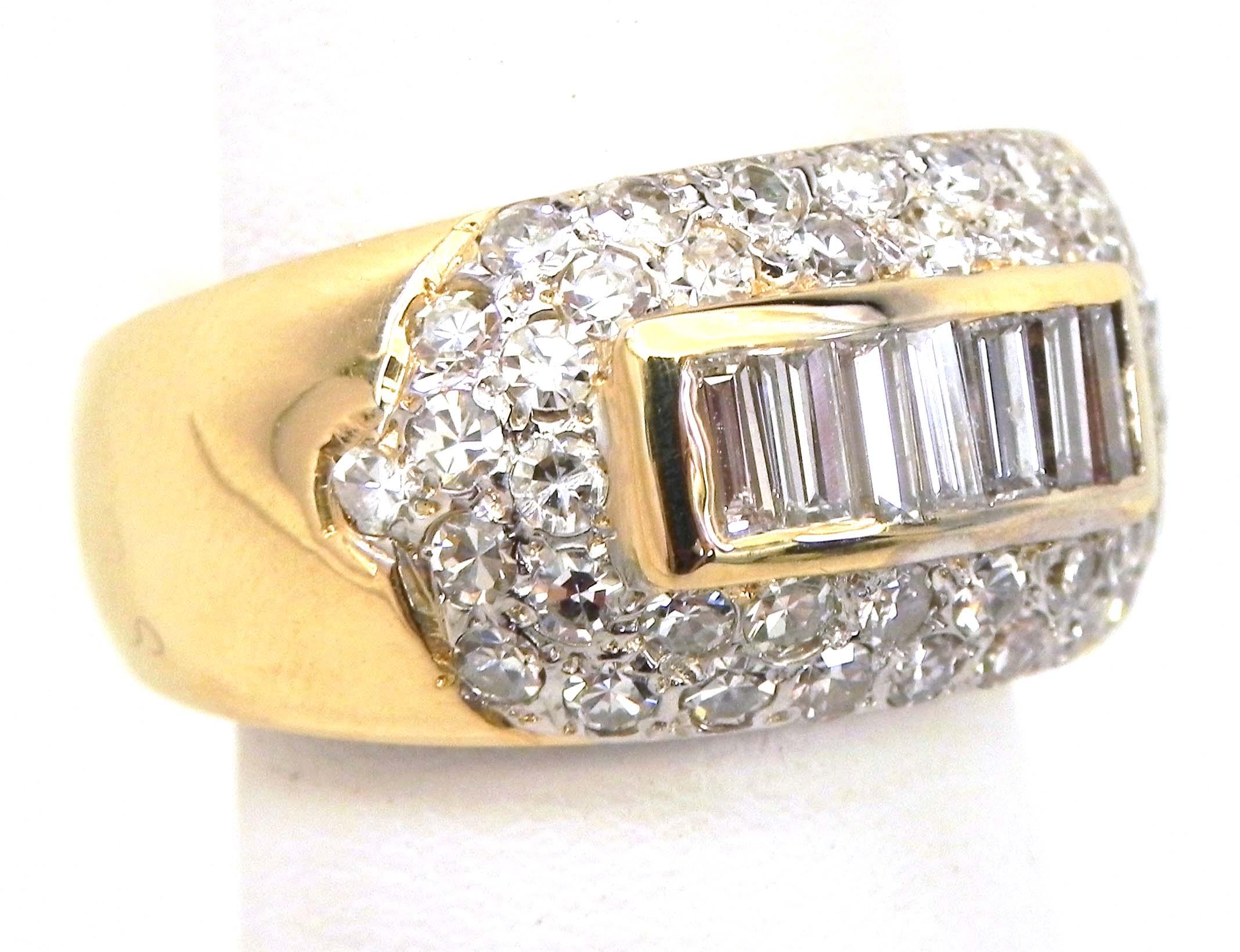 La s 14k Yellow Gold Round & Baguette Diamonds Band Ring