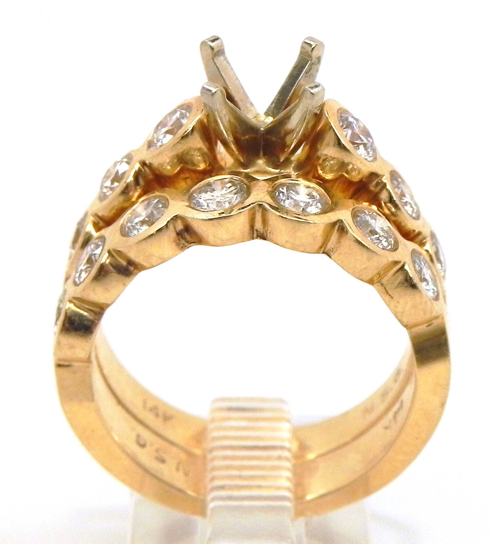 La s 14k Yellow Gold 1 12 Cts Bezel Set Diamonds Semi Mount