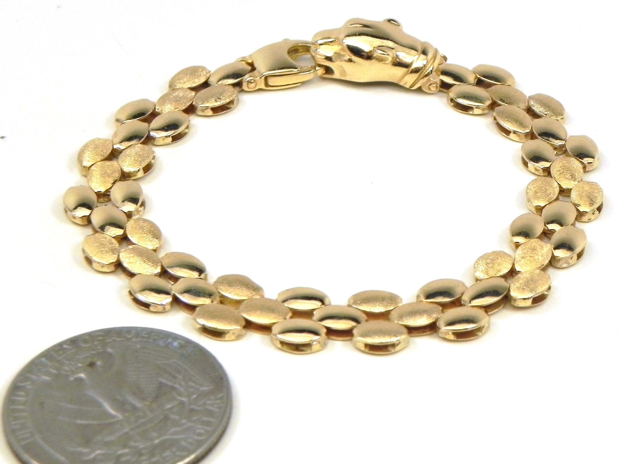 Ladies 14k Yellow Gold Panther Clasp Bracelet Bright