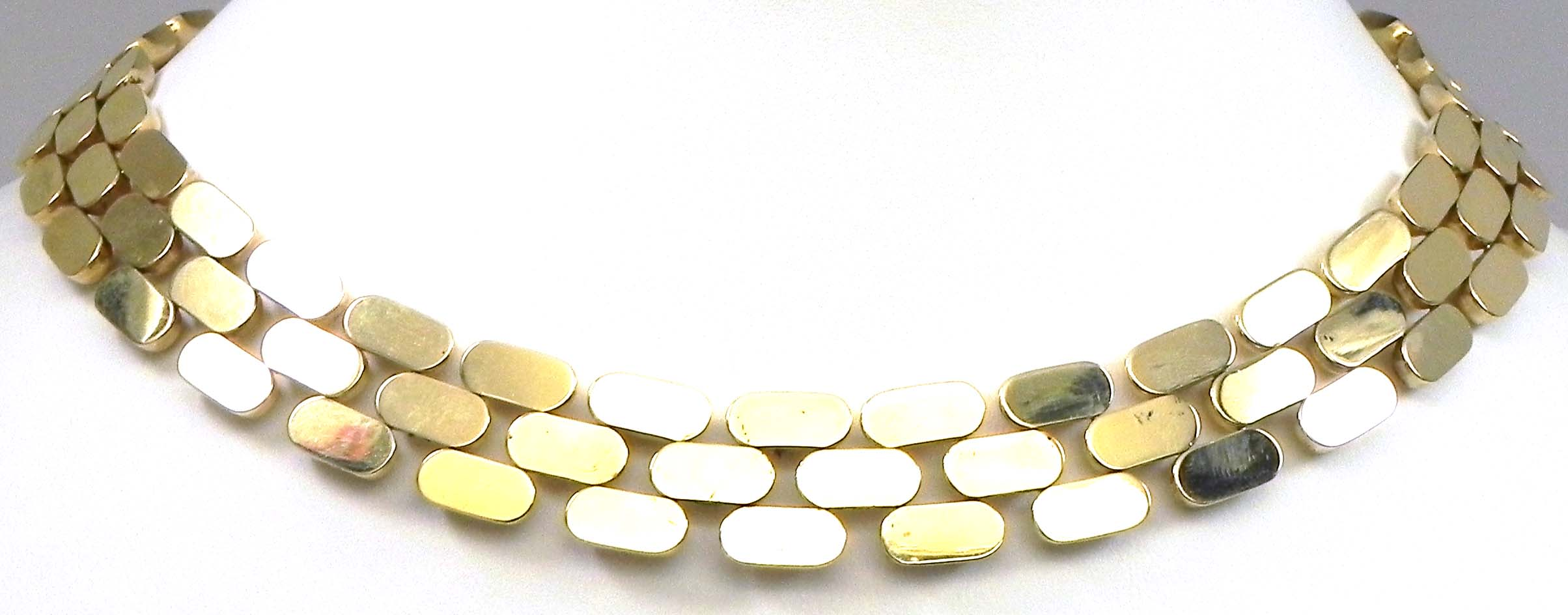 Ladies 14k Yellow Gold Panther Style 55 Gram Necklace