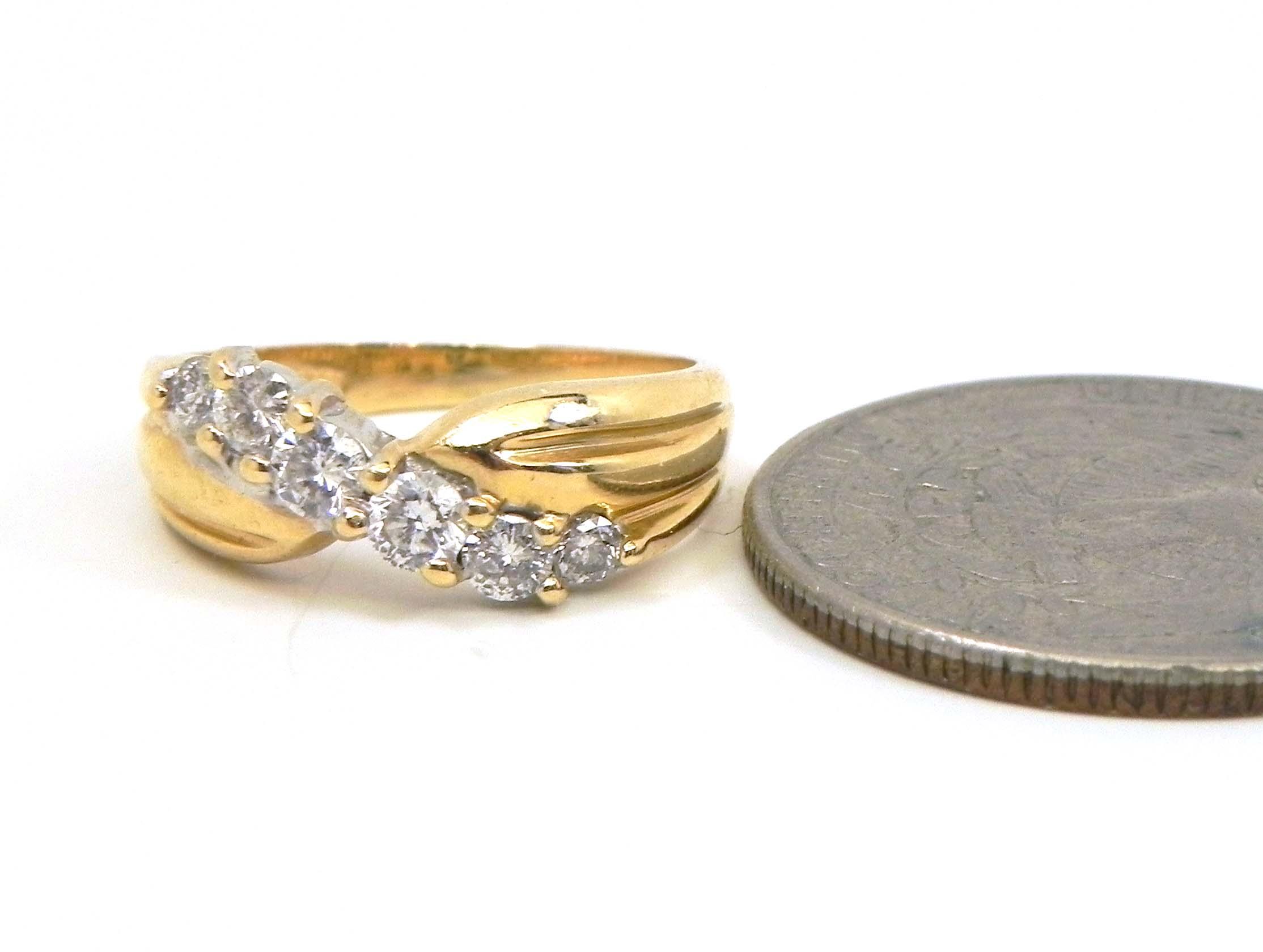 Ladies 14k Yellow Gold Slanted Diamonds Wedding Band