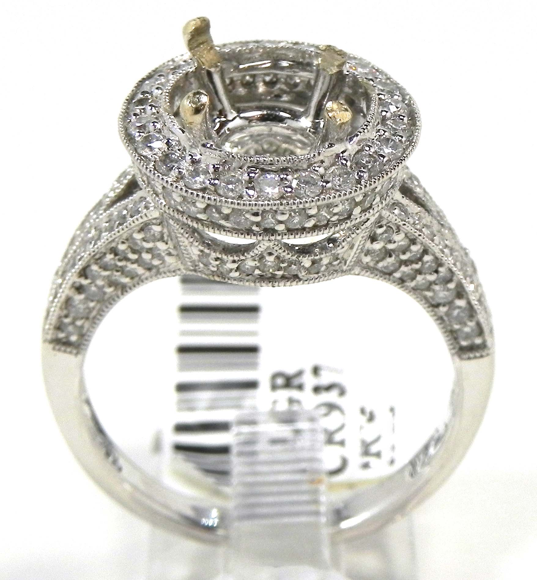 La s 18k White Gold Diamonds Circle Semi Mount Engagement Ring