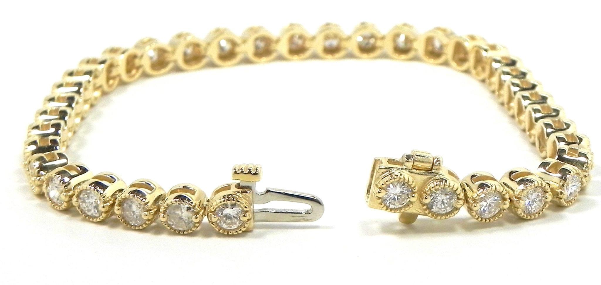 Ladies 14k Yellow Gold 3 80 Cts Diamonds Tennis Bracelet Bright Jewelers Bright Jewelers